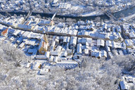 Germany, Bavaria, Wolfratshausen, view over old town and Loisach river in winter, aerial view - SIEF08554