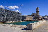 France, Marseille, Museum of European and Mediterranean Civilisations, MuCEM and signal tower of Fort Saint Jean - LBF02554