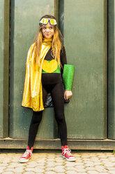 Portrait of smiling girl in super heroine costume - ERRF01036