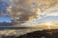 USA, Hawaii, Big Island, Pu'uhonua o Honaunau National Park, lava coast at sunset - FOF10636