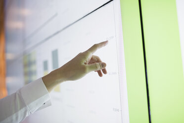 Businesswoman pointing to data on projection screen - HEROF35909