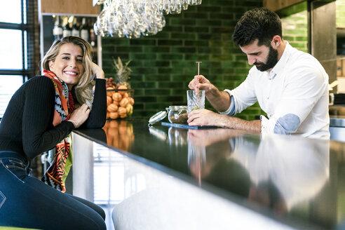 Sevilla, Spain, woman, coffee shop, fall, tea, cocktail, barman - ERRF01127