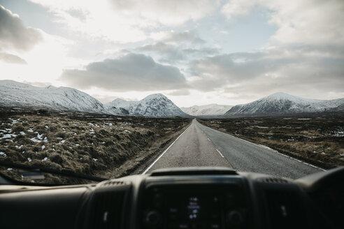 UK, Scotland, Glencoe, empty road seen through car windscreen - LHPF00577