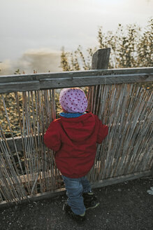 Rear view of toddler girl in warm clothes standing at a wooden fence in nature - DWF00395