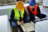 Two men working on plan in factory - ZEDF02083