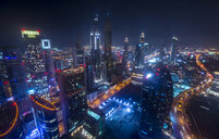 United Arab Emirates, Dubai, cityscape with Sheikh Zayed Road at night - HSIF00487