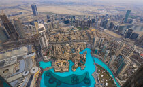 United Arab Emirates, Dubai, cityscape with Burj Lake and Souq Al Bahar - HSIF00493