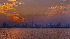 United Arab Emirates, Dubai, silhouette of the skyline at twilight - HSIF00505