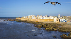 Morocco, Essaouira, Kasbah, cityscape with ocean - HSIF00511