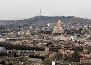 Georgia, Tbilisi, cityscape with Holy Trinity Cathedral - ALRF01435