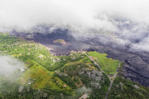 USA, Hawaii, Big Island, aerial view of the impacts of the volcanic eruption in 2018 - FOF10698