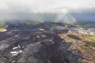 USA, Hawaii, Big Island, aerial view of the impacts of the volcanic eruption in 2018 with rainbow - FOF10701
