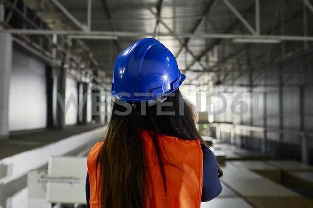 Serbia, Stara Pazova, Warehouse, Worker, Smartphone - ZEDF02242