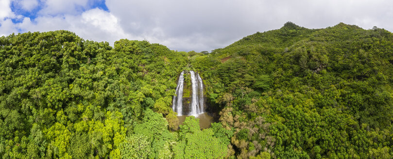 USA, Hawaii, Kauai, Wailua State Park, Opaekaa Falls, aerial view - FOF10731