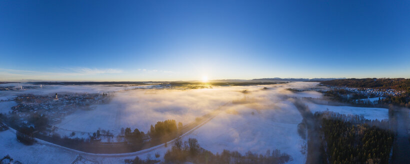 Germany, Bavaria, Geretsried, Loisach, sunrise over winter landscape, aerial view - SIEF08602