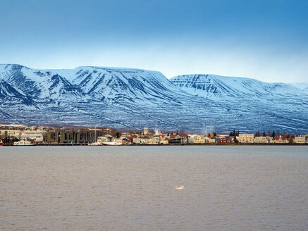 Cityscape of Akureyri city with the harbor before sunset in winter - TAMF01309