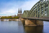 Germany, Cologne, Hohenzollern Bridge and Cologne Cathedral in the morning - TAMF01321