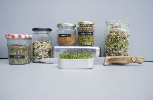 Preserving jars with grains, mung sprouts and cress, home grown sprouts - GISF00419