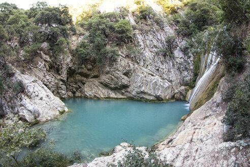 Greece, Messenia, Polylimnio waterfalls near Kazarma - MAMF00602