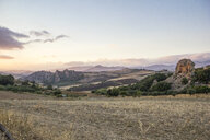 Italy, Sicily, Enna, view over landscape at dusk - MAMF00609