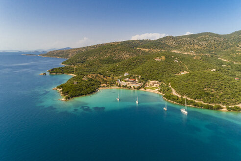 Greece, aerial view of small bay at Syvota - TAMF01347