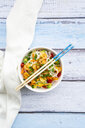 Glass noodle salad with shrimps, tomato, avocado, carrot, coriander and lime juice - LVF07979