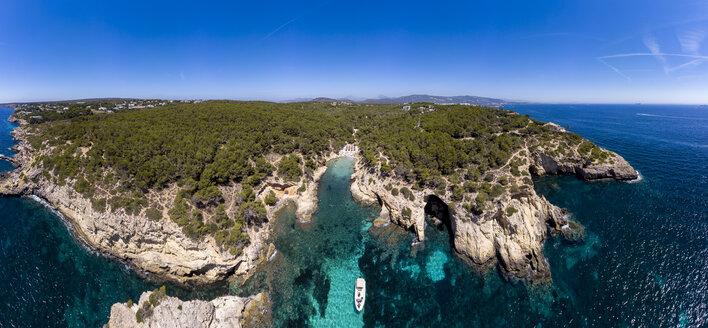 Spain, Mallorca, Aerial view of bay Cala Falco and Cala Bella Donna - AMF06942
