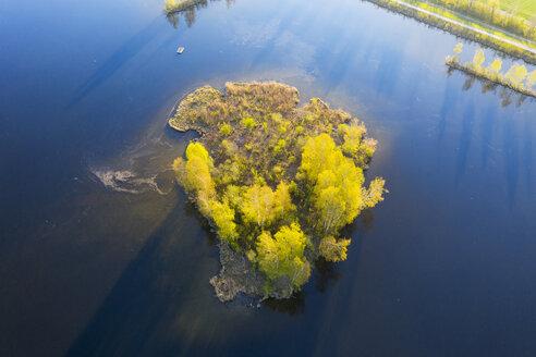 Germany, Augsburg, island in Bobinger reservoir, aerial view - SIEF08607