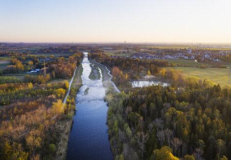 Germany, Augsburg, Inningen, Wertach river at dawn, aerial view - SIEF08610