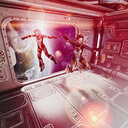 Women floating in space suits inside spaceship - BLEF00354