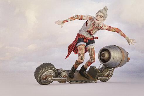Older woman with tattoos riding futuristic skateboard - BLEF00516