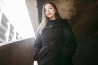 Portrait of serious Caucasian woman wearing black coat - BLEF00567