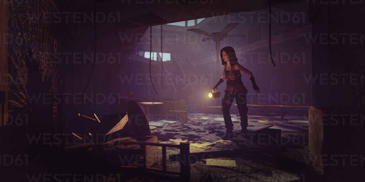 Woman holding flashlight exploring building ruins - BLEF00600 - Donald Iain Smith/Westend61