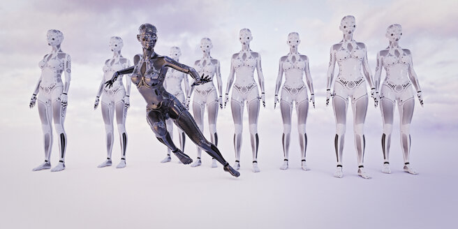 Black woman android running near white androids - BLEF00867