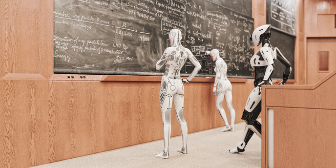 Robot women solving equations on blackboard - BLEF00912