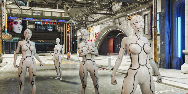 Women robots in futuristic city - BLEF00915