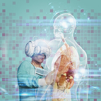 Surgeon wearing virtual reality goggles operating on hologram - BLEF00999