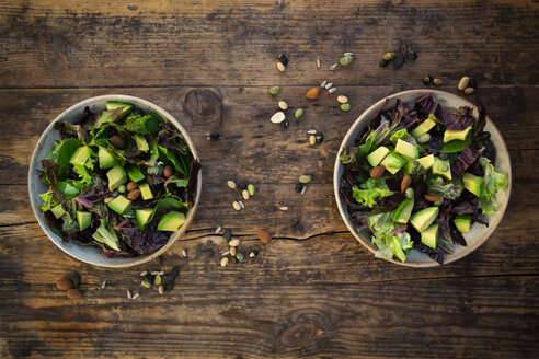 Various leaf salad with avocado, roasted seeds, almonds and soy beans - LVF07984