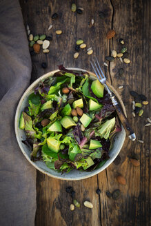 Various leaf salad with avocado, roasted seeds, almonds and soy beans - LVF07987