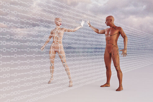 Futuristic man and woman touching through binary code - BLEF01339