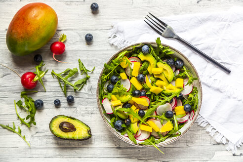 Bowl of rocket salad with mango, avocado, red radishes and blueberries - SARF04246