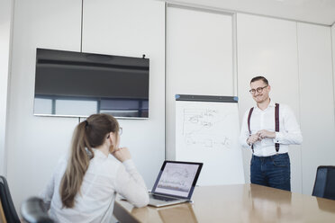Businesswoman with laptop and businessman at flip chart working in office - AHSF00265