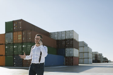 Manager talking on cell phone in front of cargo containers on industrial site - AHSF00277
