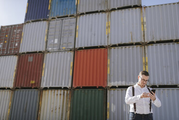 Manager in front of cargo containers on industrial site using cell phone - AHSF00280