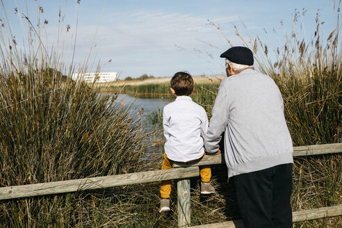 Back view of little boy and his grandfather looking at a lake - JRFF03175
