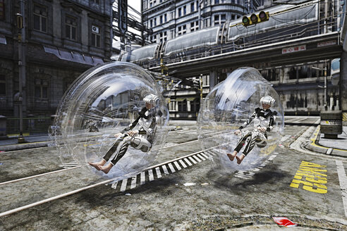 Futuristic women riding in transparent transportation - BLEF02442