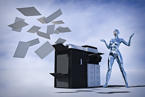 Frustrated robot woman watching paper flying from photocopier - BLEF02654