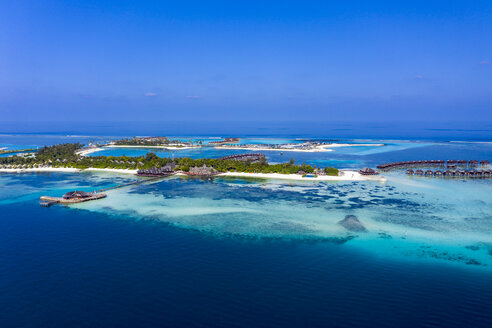 Maldives, South Male Atoll, aerial view of island Olhuveli - AMF06988