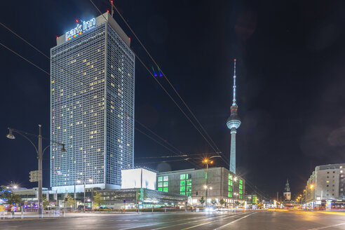 Germany, Berlin, view to lighted television tower at night - TAMF01381