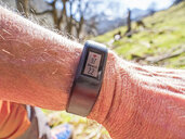 Smartwatch with data on wrist of a hiker - LAF02306